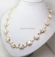 الجملة الحرة حار بيع>> الأزياء والمجوهرات 18 كيلو gp الأبيض الباروك اللؤلؤ سلاسل قلادة 18