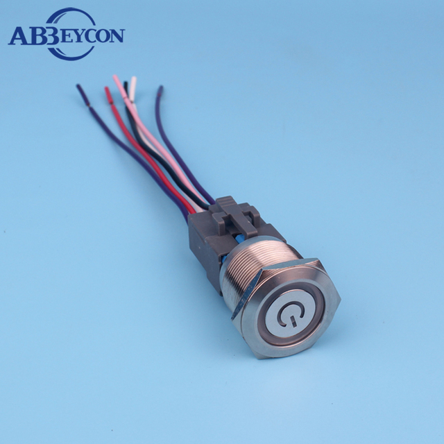 28mm big button Ring & Power light wiring harness 28mm momentary ...