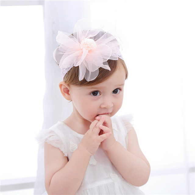 4a8736fc8cc Bebe Girl Headband Cute Sweet Big Flower Hair Band Children Elastic  HairbandS Kids Lace Floral Headwear