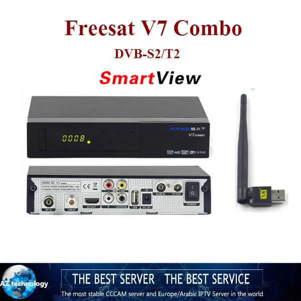Openbox Freesat V7 combo DVB-S2 FTA/DVB-T2 receptor digital de satélite con cccam apoyo USBWIFI cline para 1 año europa caja de la tv