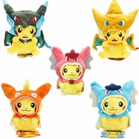 7 Kinds Option Animal Dolls 23 CM Pikachu Cosplay Plush Toys Children Pocket Plush Toys Send