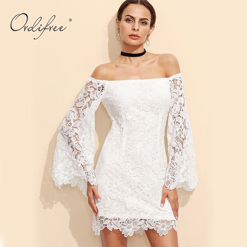0c67e4ba5a9 Ordifree 2019 Summer Floral Embroidery Sexy Mini Dress Women Bodycon Off  Shoulder Long Sleeve Short White Lace Dress