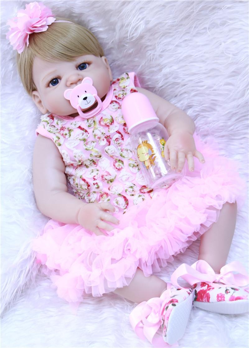 22 Fashion brand girl doll reborn full body silicone vinyl can enter water bath doll toys