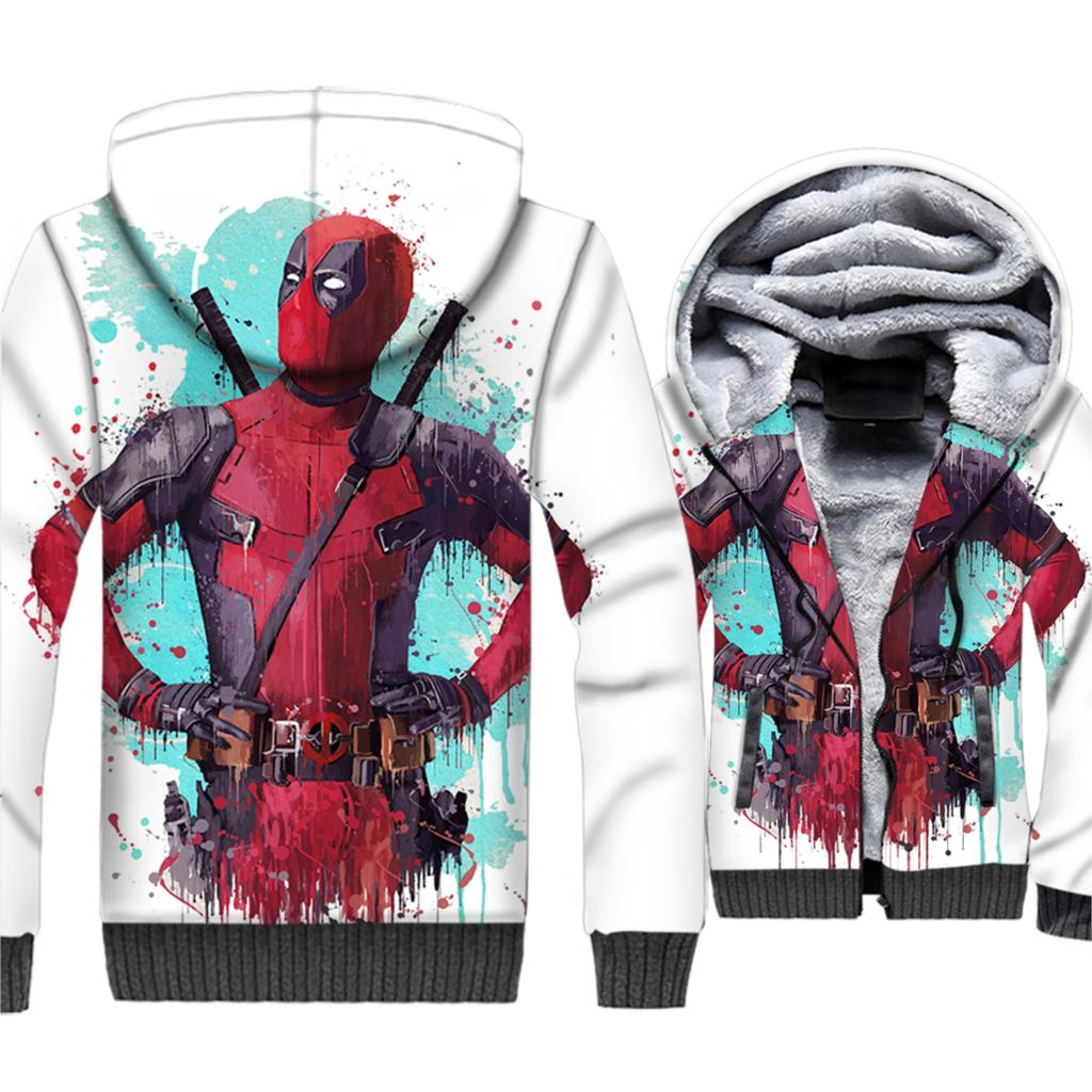 Dealpool Hoodeis Super Hero Men Funny Sweatshirt 2018 Winter Thick Fleece 3D Coat Deal Pool Brand Clothing Plus Size 5XL Jackets