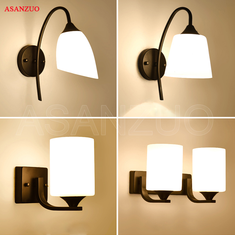 American loft retro milk white glass lampshade wall lamp vintage bedroom bedside iron wall sconce E27 light fixtureAmerican loft retro milk white glass lampshade wall lamp vintage bedroom bedside iron wall sconce E27 light fixture