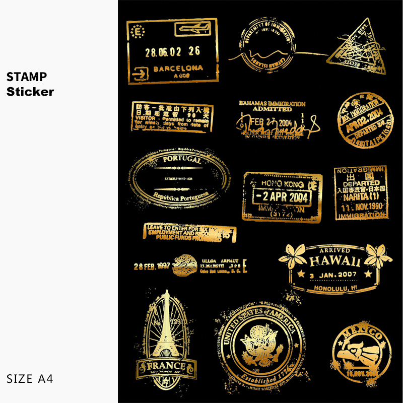 A4 Vintage Golden Post Stamp Car Styling Graffiti Doodle Sticker Motorcycle Bike Trolley Laptop Skateboard Ipad Phone Decals