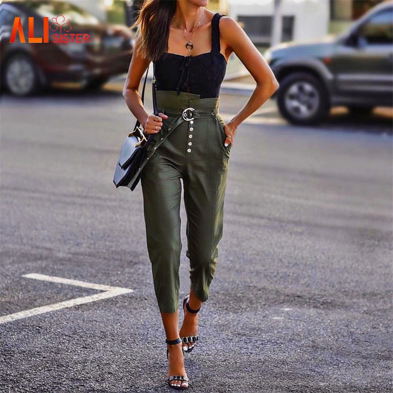 New Women High Waist   Pants   Sashes OL Lady   Capris   Trouser Casual Harem   Pants   Solid Color Pencil   Pants   Women Clothes 2019