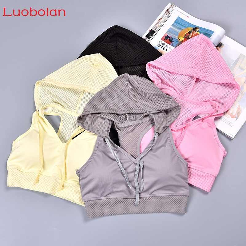 Luobolan Women Yoga Bra Workout Crop Tops Woman Gym Sports Quick Dry Breathable Mesh Sleeveless Vest Hoodies Tank Tops With Pad