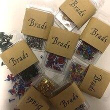 9 грамм мини милые металлические Скрапбукинг brads смешанные цветные значки Сердце Звезда дерево цветок форма 6 узоров