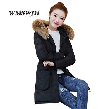 Women Long Coat Winter Warm Fur Collar Hooded Jacket Down Cotton Slim Lace Up Zipper Parka Outwear Coats For Girl Plus Size 4XL