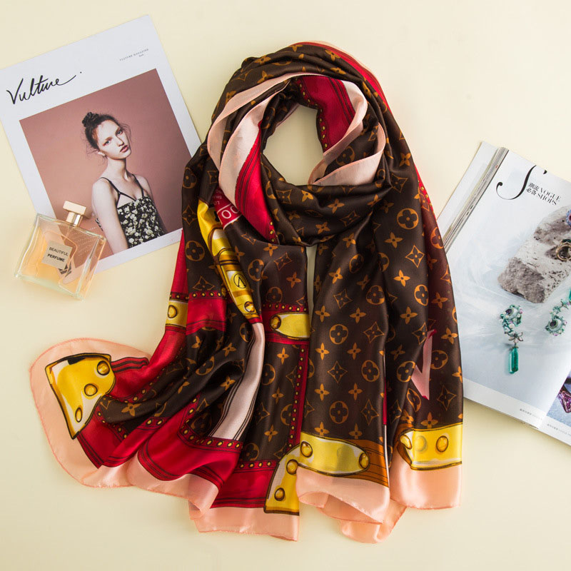 Luxury brand ladies silk   scarf   four clover print shawl summer beach   scarf     Wrap   Designer Bandana soft long shawl chiffon   scarf