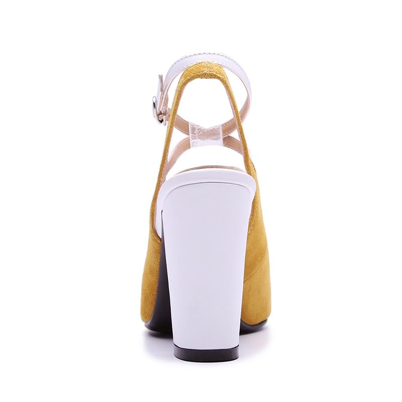 Mode Femmes jaune Pointu Toe Strap Top Suede Pompes Kcenid Parti 40 Qualité 2018 Noir Talons Kid Femme Buckle Taille Été Chaussures Haute 3lJTFKc1