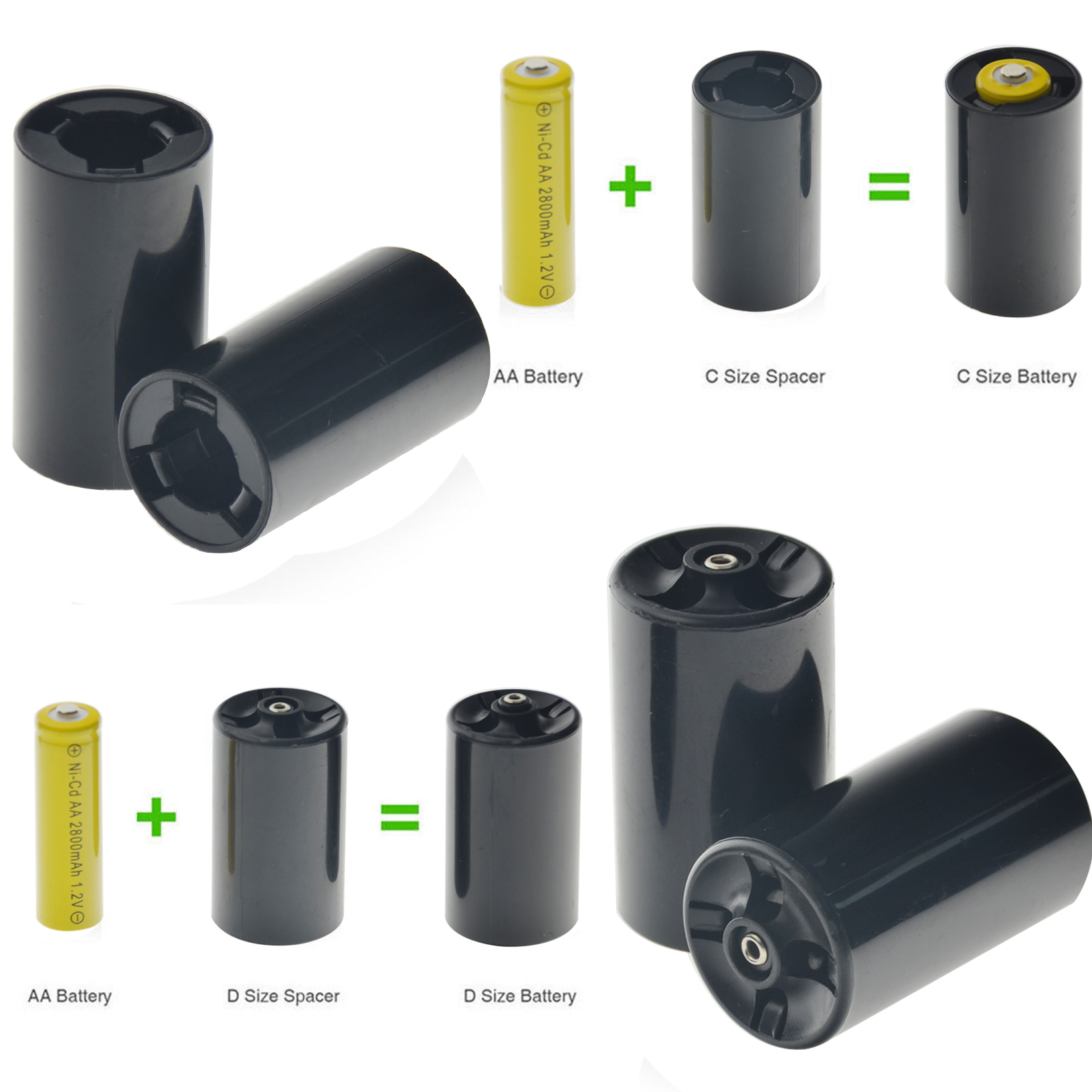 C/D Size Adaptor Converter Alkaline Battery Rechargeable Adaptor For  C/D AA  Size Ni-MH/NI-CD Spacers EBL Black Converter
