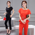 New Summer Women Top And Pants Suits Slim Cutout Pants Two-Piece Bat Sleeve Blouse With Belt Korean Fashon Trendy Lady Clothes