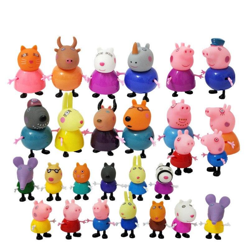 Peppa schwein George freund Familie Pack Dad Mom Action Figure Original Pelucia Anime Spielzeug Junge mädchen geschenk set