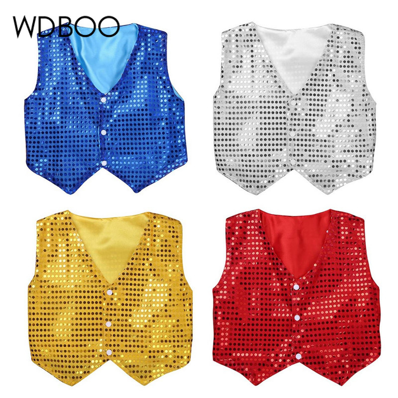 WDBOO Boys Jazz Vest Children Glitter Clothes Choir Performance Costume Kids Hip-hop Jazz Dance Sequins Vest Sparkle Waistcoat