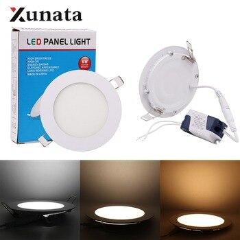 Panel de luz LED abajo, lámpara de Panel de techo blanco cálido 3W 6W 9W 12W 15W 25W, iluminación LED para decoración del hogar