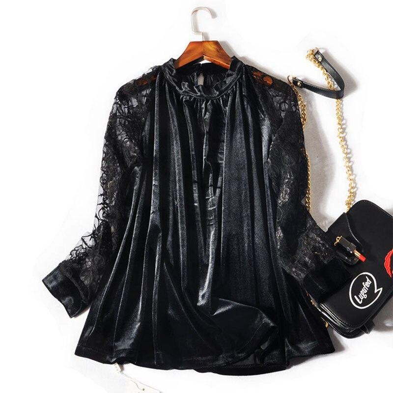 2XL 3XL grande taille femmes T Shirt hauts 2018 automne hiver à manches longues dentelle Patchwork noir basique velours t-shirt t-shirts