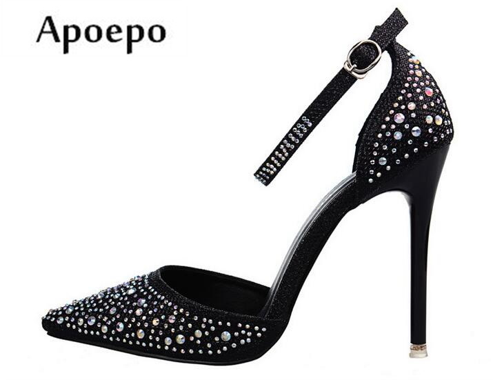 Apoepo 2018 High Heel Shoes Sexy Pointed Toe Crystal Pumps Ankle Strap Rhinestones Wedding Heels for Woman Buckle Strap Heels hot selling silver leather pointed toe high heel shoes 2017 sexy thick heels crystal embellished pump cutouts ankle strap shoes