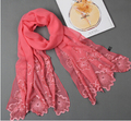 2014  spring and autumn women embroidery mulberry silk scarf  female large long emroideried silk shawl scarves lady 175*52cm