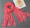 Primavera e outono mulheres bordado lenço de seda feminina de seda emroideried grande longo xale cachecóis 175 * 52 cm