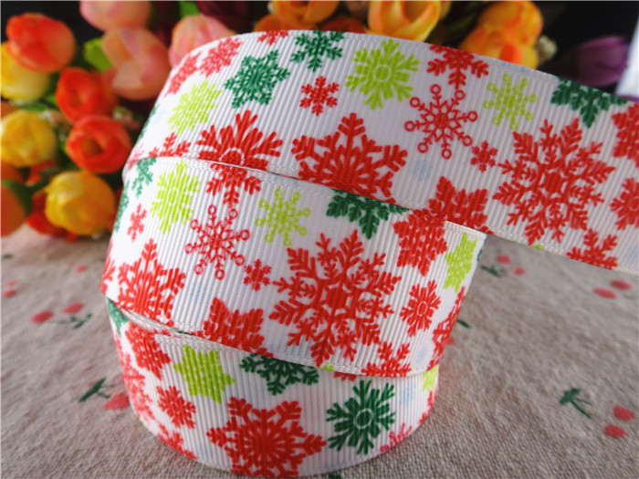 15110736, 1'' (25mm) 10 yards christmas snowflake printed grosgrain ribbons cartoon ribbon hair accessories tape