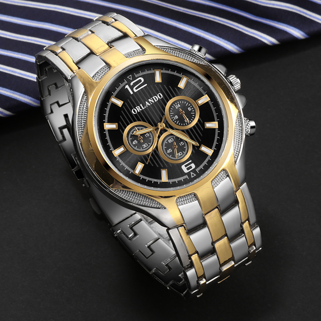 ORLANDO Top Quality Quartz Silver Gold Plated  Mens Stainless Steel  Wristwatch 3