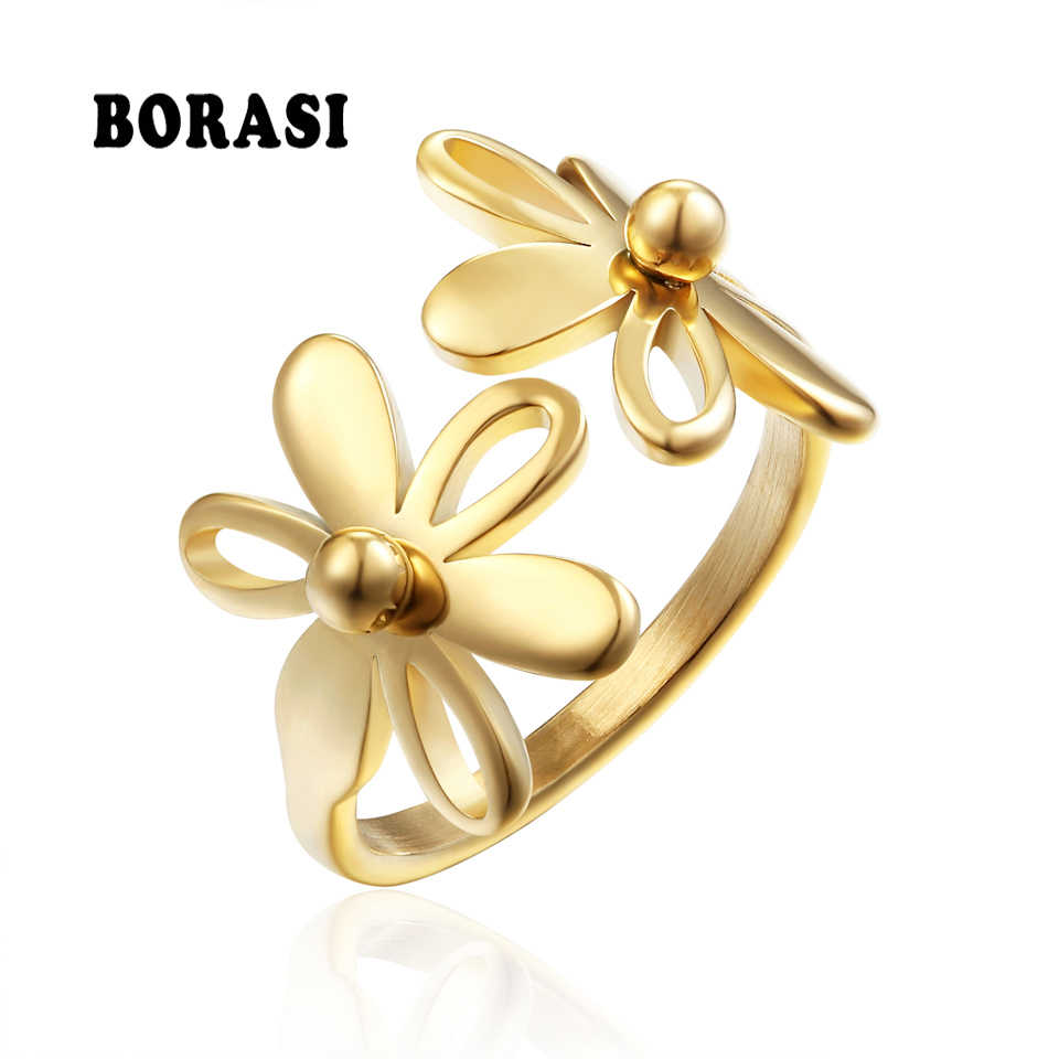 BORASI Trendy Double Flower Ring Gold sliver-Color Rings For Women Stainless Steel Wedding Female Ring Party New Flowers Rings