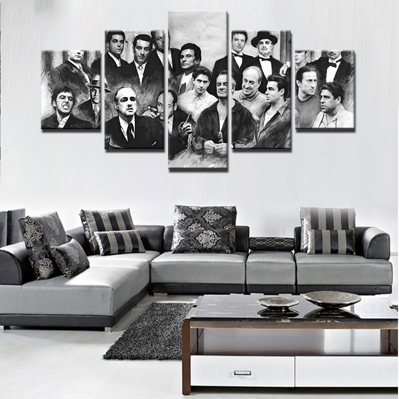 Abstract Canvas Painting Home Decor 5 Pieces Retro Movie Characters Pictures Wall Art Printed Gangsters Poster Framework Artwork image