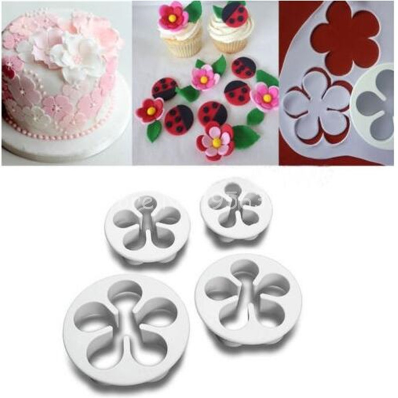 4PCS /Lot Rose Fondant Mold Cutters Edible Non Edible Material Paste Sugar  Craft Cake Decoration Cutter Rose Flower Mould