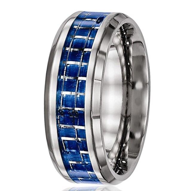 Free Shipping 2015 Fashion Gift  Blue Silver Carbon Fiber Pure Titanium Ring Men Wedding Band Alliance Jewelry TI050R