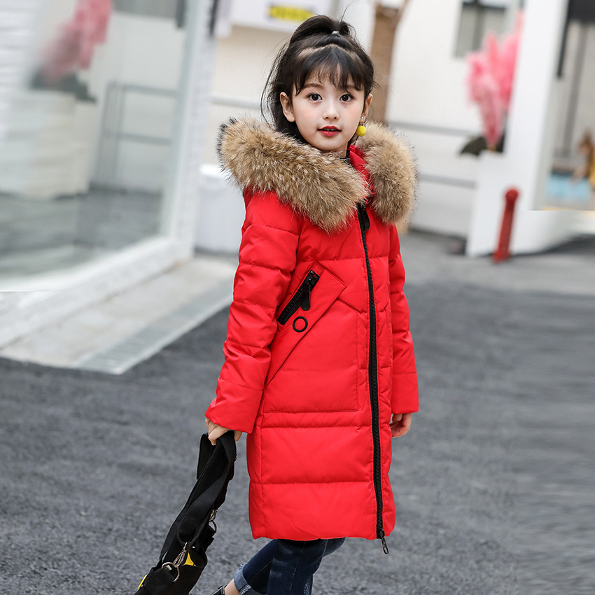 6-14Y Girls Down Jacket Winter Thick 2017 Brand Hooded Teenage Girl Long Coats Big Fur Collar Children Jacket Outerwear Parkas fashion long parka kids long parkas for girls fur hooded coat winter warm down jacket children outerwear infants thick overcoat
