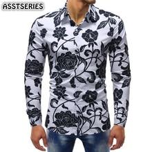 fc0495262c Nueva camisa masculina moda urbana Casual impresión Floral camisa de manga  larga en cuatro estaciones más tamaño 5xl camisas par.