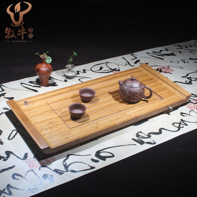 Bamboo bamboo tea tray personality caifeiyang 58*26*4 Kung Fu tea gift set LOGO custom mixed batch