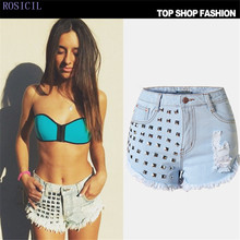 ROSICIL Rivet High Waist Denim Shorts Women Tassel Ripped Loose Short Jeans Punk Sexy Hot Summer Fashion Short Pants SL009-L#