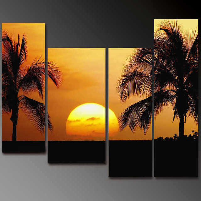 Picture Huge 4 Panel Tropical Palm Tree Sunset Peace Canvas Wall Art 100 Hand