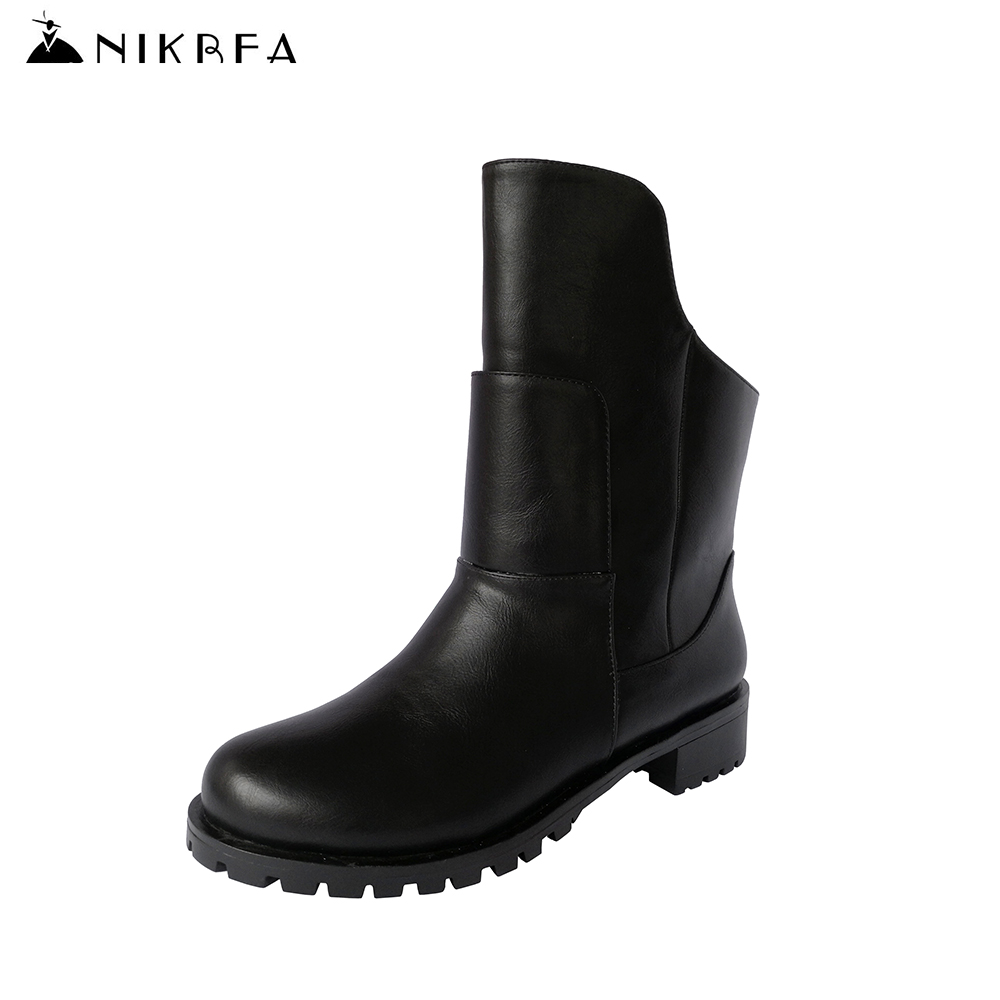 Nikbea Fashion Winter Martin Boots Women Large Size Punk Riding Boots Handmade Chunky Low Heel Botines Mujer 2016 Autumn Botas nikbea handmade genuine leather western boots cowboy large size women pointed toe boots 2016 autumn shoes fashion botas mujers