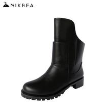 Nikbeaแฟชั่นฤดูหนาวมาร์ตินรองเท้าผู้หญิงขนาดใหญ่ขนาดพังก์ขี่บู๊ทส์Handmadeก้อนส้นต่ำBotines Mujer 2016ฤดูใบไม้ร่วงBotas
