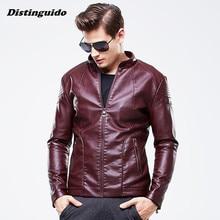 Men 2017 Fashion Washed PU Leather Casual Jacket Spring Autumn Men Jacket Windbreaker Jackets Coats MJK016