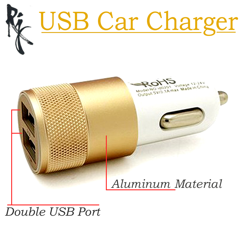 Dual USB Car Charger Aluminum + Plastic 2 Port Fast USB Charging For Samsung S6 S5 S4 S3 Note For iPhone 6S 5s 6 for HTC Sony LG