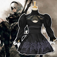 Halloween Nier Automata Yorha 2B Cosplay Costume Women Adult Anime Black Sexy Short Dress Fancy Party Outfit Disguise Suit Girl