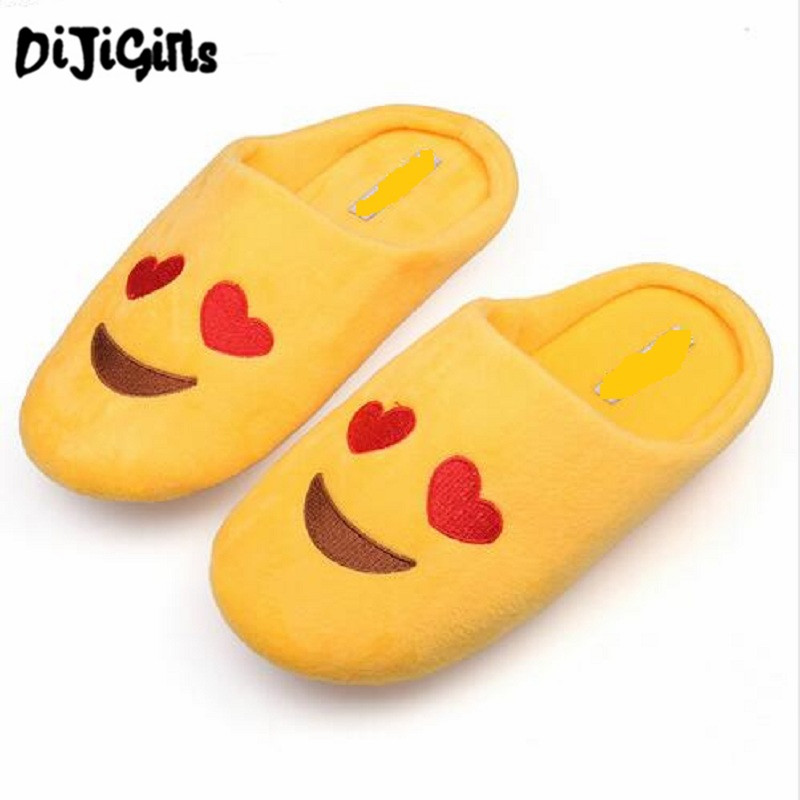 DiJi Girls Women Soft Velvet Indoor Floor Expression Slippers Cute Emoji House Shoes Soft Bottom Winter Warm Shoes For Bedroom soft house coral plush slippers shoes white