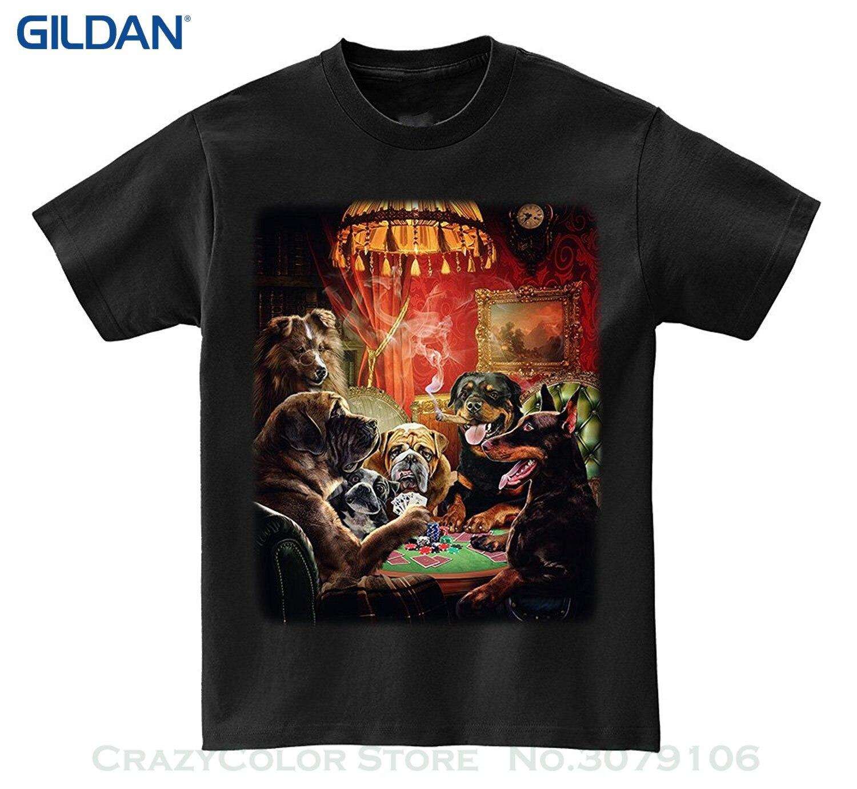 GILDAN Unisex Fashion T Shirt T-shirt - Poker Night Doberman , Rottweiler , Bulldog , & Shetland Sheepdog