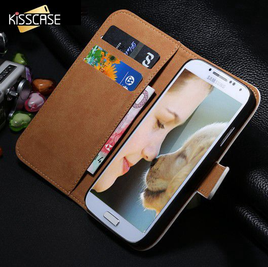 Kisscase retro de lujo de cuero real wallet case para samsung galaxy Flip Soport