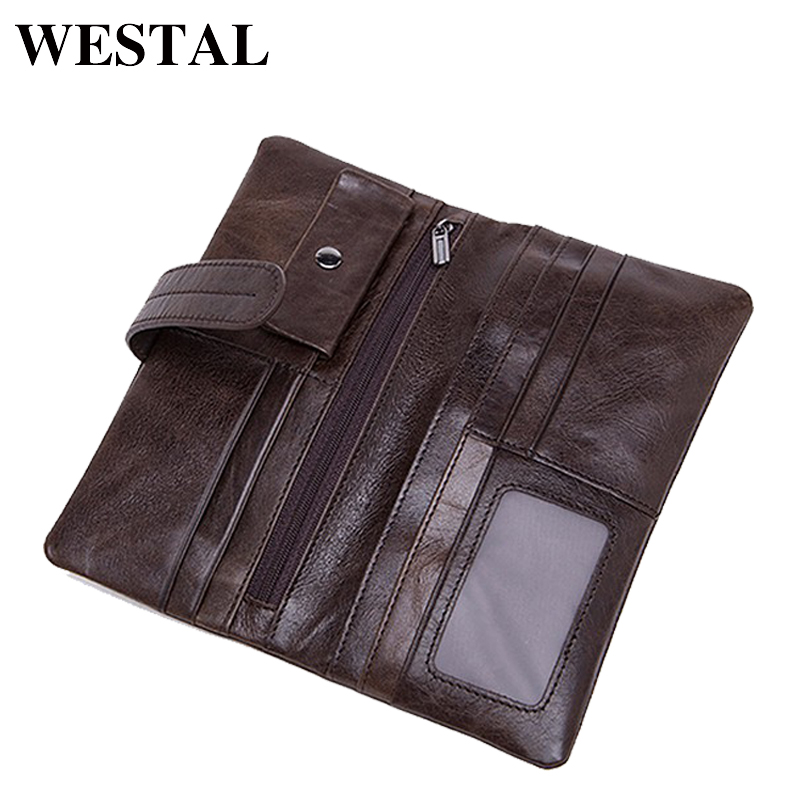 WESTAL Genuine Leather Men Wallets Leather Fashion Man Long Wallet Men Coin Purse Male Casual Clutch