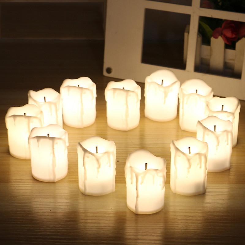 2PCS Simulated LED Candle 3.5*5CM Flameless Electronic Candle New Year Birthday Wedding Thanksgiving Day Party DIY Decos Gift