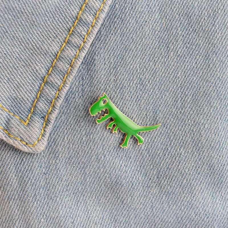 漫画動物かわいい緑恐竜ブローチ合金ブローチバッジ衣料用シャツバッグ装飾のための子供