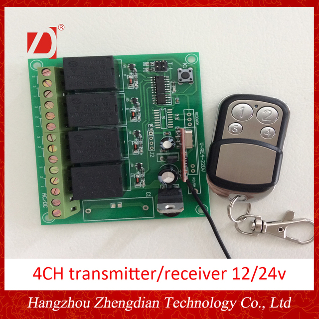 4ch Remote And Wireless Receiver 12v24v Learning Code 43392mhz
