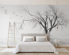 Beibehang 3d wallpaper black and white tree bird artistic concept Nordic high quality living room TV backdrop wall