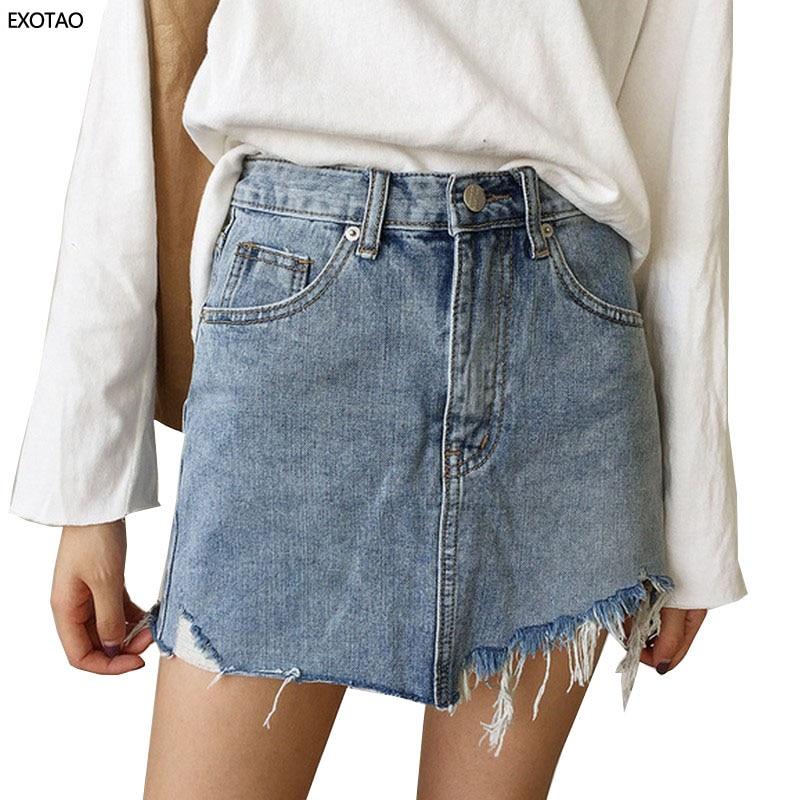 Лето 2017 г. джинсовая юбка Для женщин Высокая Талия Jupe неровными краями Джинсовые юбки женские мини Saia промывают Faldas Повседневное юбка-карандаш